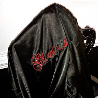 Custom Made Custom Personalized Name Crystallized Satin Robe Kimono Made With Swarovski Crystals Bedazzled