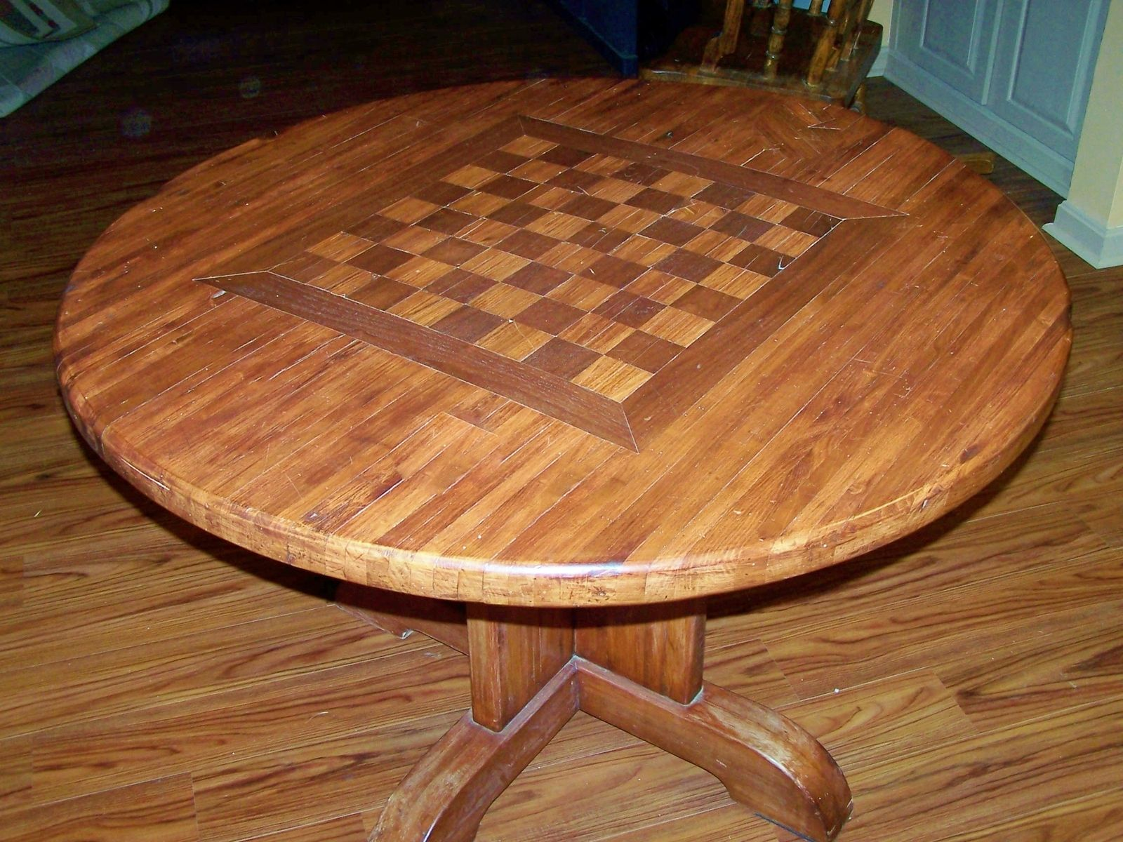 Handmade Butcher Block Table With Chess Board by Classic Woodworks