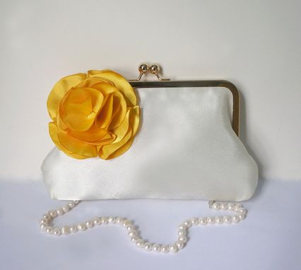 Custom Made Custom Clutch Purse With Handmade Flower Brooch