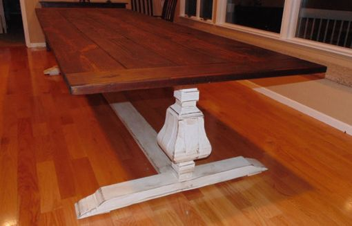 Custom Made Farmhouse Urn Pedestal Base Trestle Table