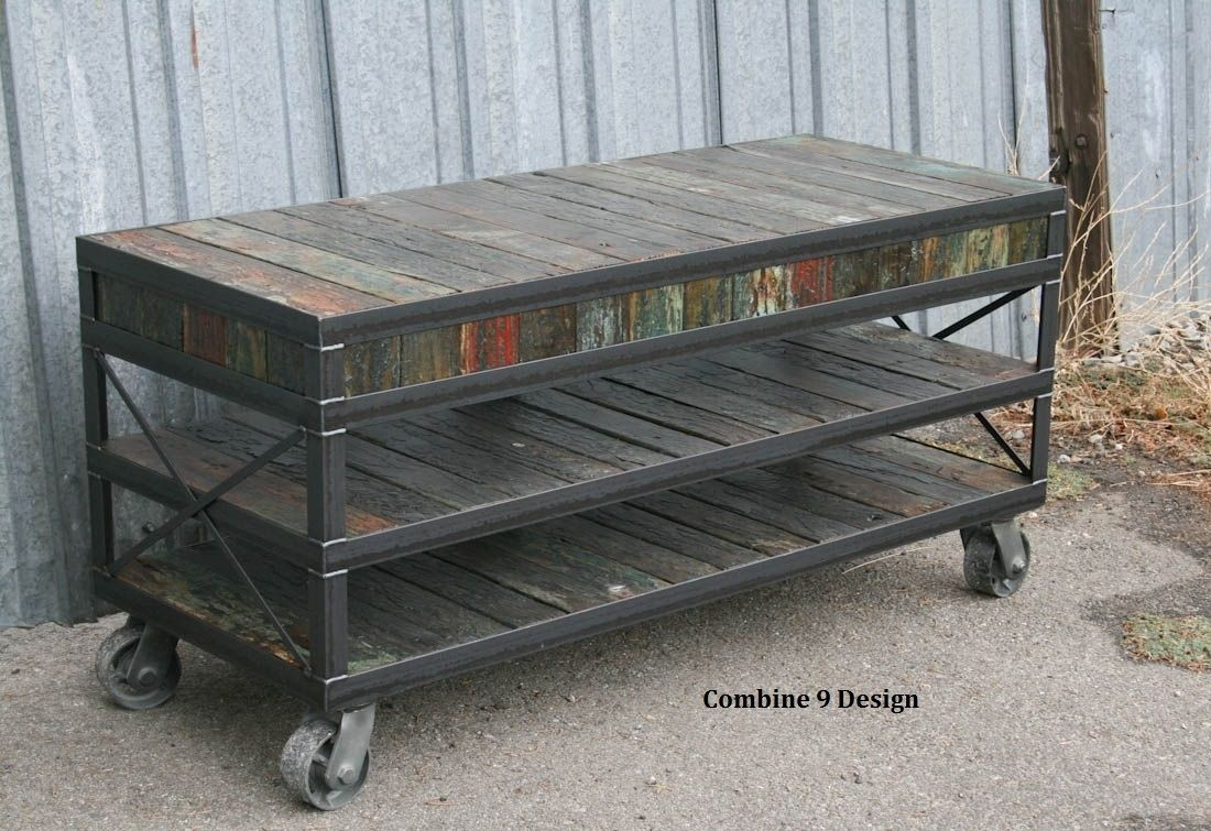 buy a hand made industrial tv stand reclaimed wood  steel  - mid century modernvintage industrial media consoletv stand urban modern