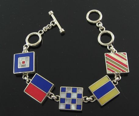 Custom Made Marine Signal Flag Bracelet With Five Initials.