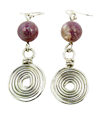 Custom Made Handmade Silver Spiral And Lilac Gemstone Statement Earring