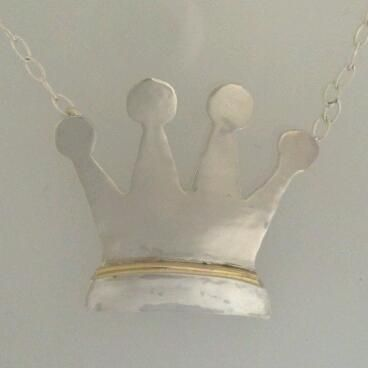 Custom Made Sterling Silver And Gold Necklace