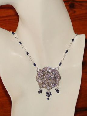 Custom Made Sterling Silver Medallion Necklace With Lapis Lazuli Gemstone Chain