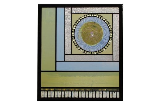 Custom Made Stained Glass Hanging Window With Rondel, Jewels And Bevels