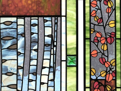 Custom Made Aspen Trees And Leaves Stained Glass