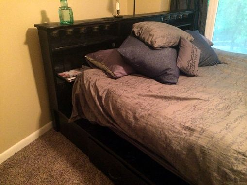 Custom Made Rustic Reclaimed Platform Bed With Drawers And Lighting