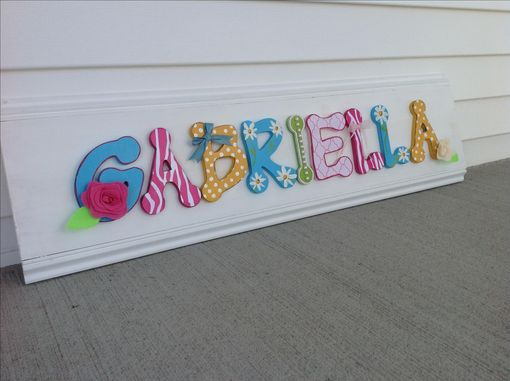 Custom Made Custom Girls Decor Wooden Letter Name Sign Board, Pink White Blue Yellow Flowers Hand Painted