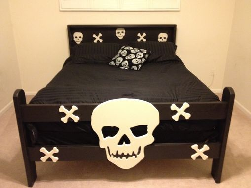 Custom Made Twin Size Skull Bed And Matching Night Stands