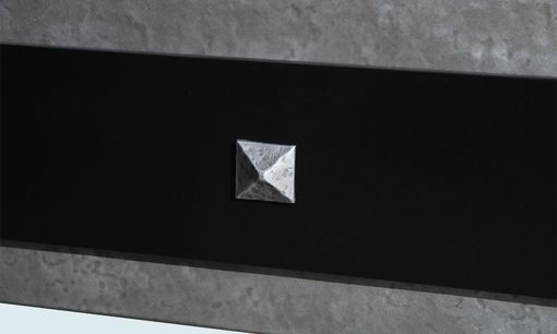 Custom Made Zinc Range Hood With Blackened Steel Strap