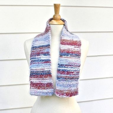 Custom Made Knit Scarf - Soft - Warm Handmade Red, White, Blue Winter