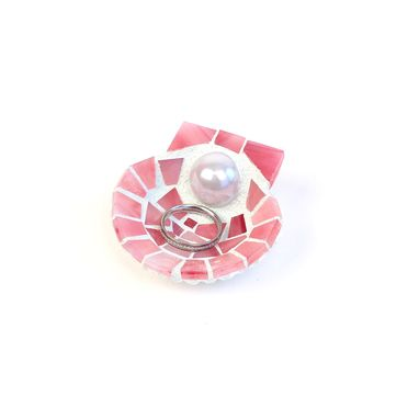 Custom Made Scallop Shell Wedding Ring Holder Dish With Pearl And Pink Glass