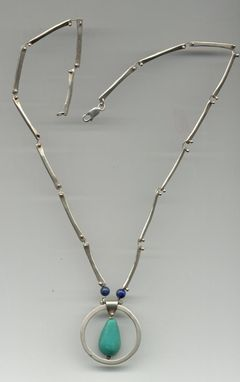 Custom Made Forged Sterling, Antique Turquoise From Napal, Aaa Lapis