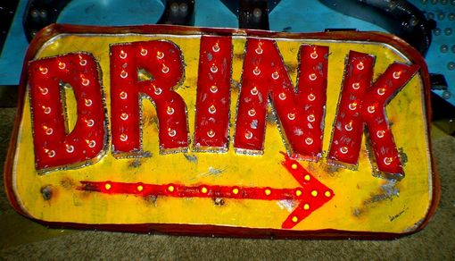 Custom Made Vintage Marquee Art Drink Arrow Flame Lights Second Generation 4 Ft X 2 Ft