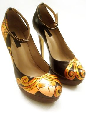 Custom Made Hand Painted Shoes- Blond Lady Pumps-Party Painted Shoes