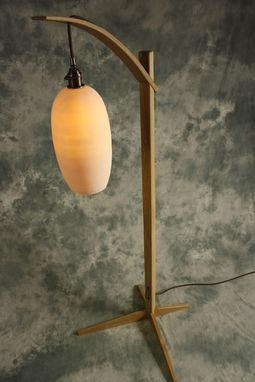 Custom Made Egret Lamp: Oak With Curved Arm / Cotton Cord / East Fork Pottery Shade / Japanese Joinery Assembly