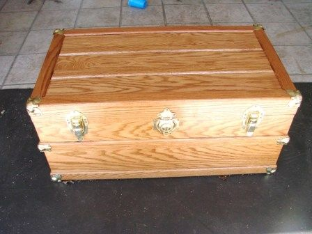 Custom Made Hand Crafted Cedar Lined Red Oak Steamer Trunk
