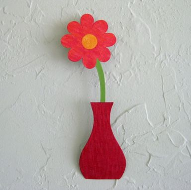 Custom Made Handmade Upcycled Metal Mini Flower Vase Wall Art Sculpture In Red