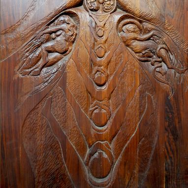 Custom Made Carved Door And Transom, Can Serve As Wall Pannel