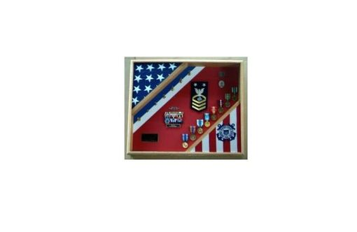 Custom Made Uscg Cutter Shadow Box, Uscg Flag And Medal Display Frame