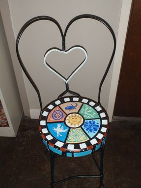 Custom Made Hand Painted Mexican Tile Bistro Chair