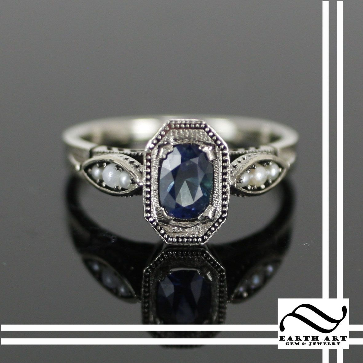 custom made art deco sapphire and pearl engagement ring - Art Deco Wedding Rings