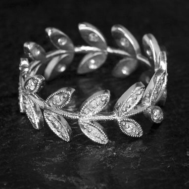 Custom Made Floral Eternity Band Vintage Style Diamond Ring