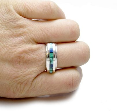 Custom Made Inlay Ring - Sterling Silver Inlay Ring - Turquoise Inlay Ring - Unique - Malachite Inlay Ring