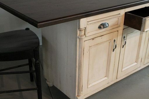 Custom Made White Kitchen Island From Reclaimed Barn Wood