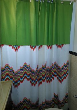 Custom Made Color Block Design Shower Curtain- Multicolor