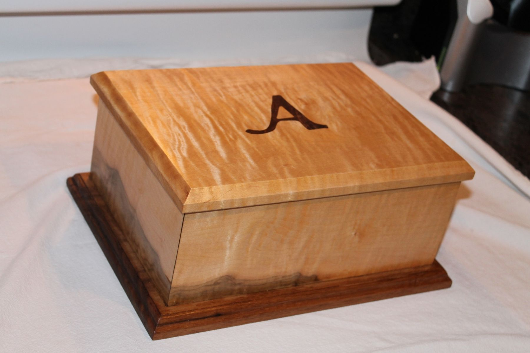 Hand Crafted Jewelry Keepsake Box Curly Maple Walnut