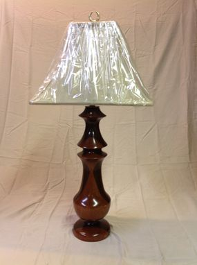 Custom Made Handmade Brazilian Leopardwood, Peruvian Walnut, & African Padouk Table Lamp
