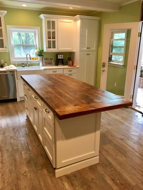 Custom Made Reclaimed Wood Kitchen Island Top