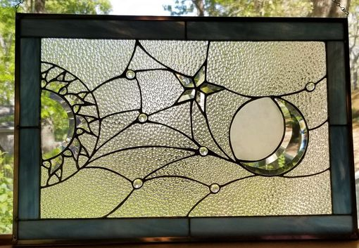 Custom Made Sun, Moon And Stars Stained Glass Window