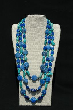 Custom Made Turquoise And Lapis Triple Strand Gemstone Necklace