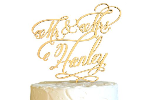 Custom Made Custom Cake Topper Calligraphy Font