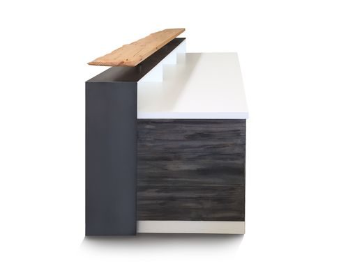 Custom Made #2 White Reception Desk Or Sales Counter With Distressed Reclaimed Wood And Live Edge Riser
