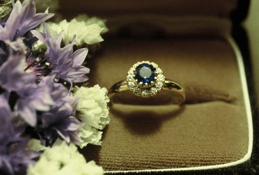 Custom Made 18 Kt. 12-Prong Gallery Ring 3/4 Ct. Sapphire & 12-Diamonds