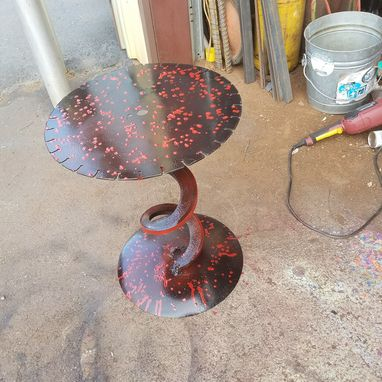 Custom Made Metal End Table By Raymond Guest