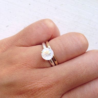 Custom Made Married Metal 7mm Magnificent Rainbow Moonstone Ring Engagement Ring