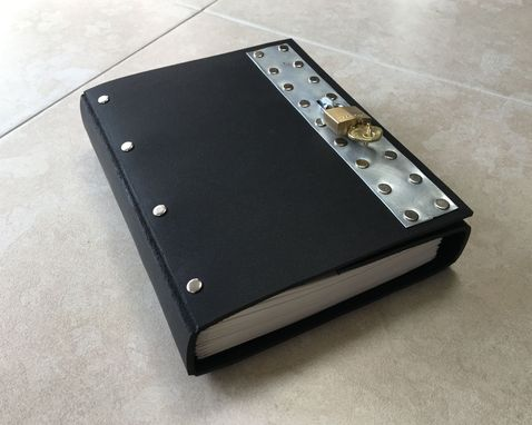 Custom Made Black Industrial Goth Lockable Steampunk Leather Journal