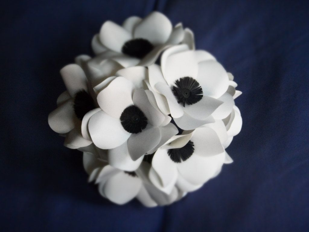 Hand Made Black And White Anemone Paper Flower Bouquet By Dear Betsy