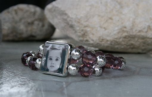 Custom Made Custom Photo Bracelet, Photo Bracelet, Purple Crystal Bracelet, Photo Jewelry