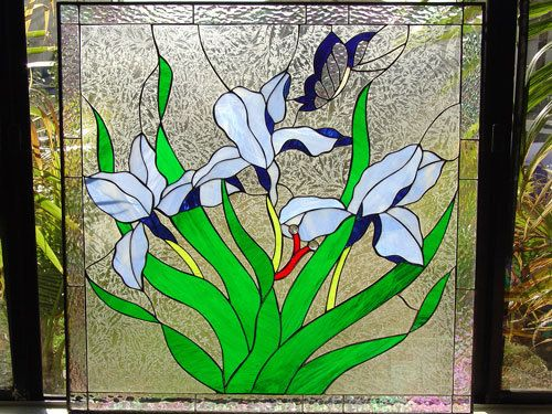 Custom Made Iris & Butterfly Stained Glass Window
