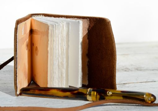 Custom Made Handmade Leather Bound Journal Mini Brass Diary Pocket Watercolor Art Notebook