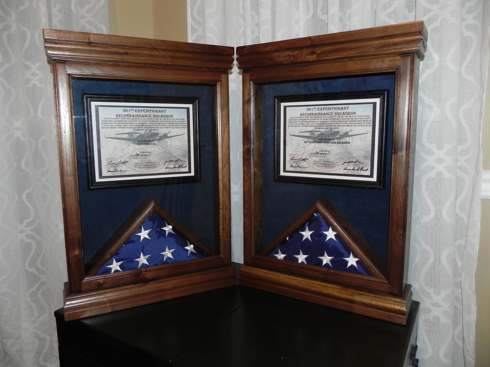 Custom Made Flag Case With Certificate Frame