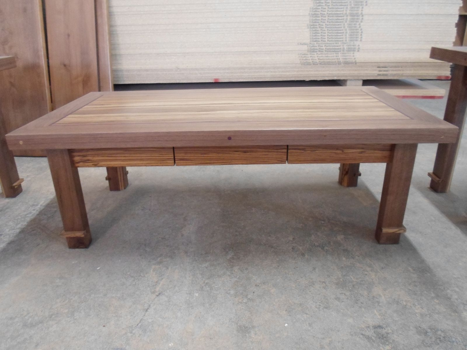 Custom Made Zebrawood Purpleheart And Black Walnut Coffee Table