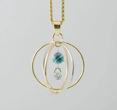 Custom Made 18kt Tri Gold Pendant With Blue Zircon And Diamond