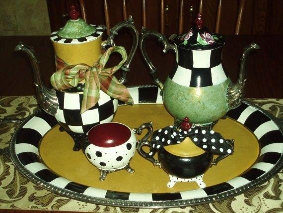 Hand Made Custom Hand Painted Silver Tea Sets Teapot Painted Silver Teapot By Michele Sprague